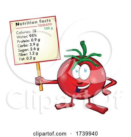 Tomato Cartoon with Nutritional Values on Signboard by Domenico Condello