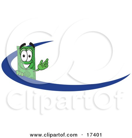 Clipart Picture of a Dollar Bill Mascot Cartoon Character Waving And Standing Behind A Blue Dash On An Employee Nametag Or Business Logo by Toons4Biz