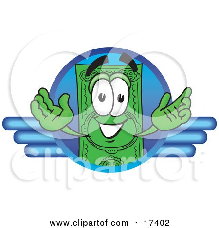 Clipart Picture of a Dollar Bill Mascot Cartoon Character on a Blue Business Logo by Toons4Biz