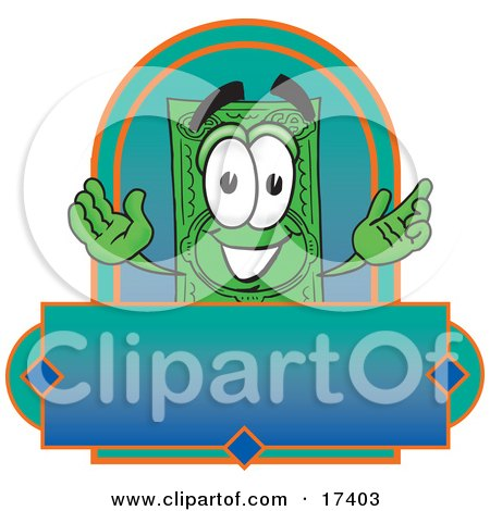 Clipart Picture of a Dollar Bill Mascot Cartoon Character on a Blank Label by Toons4Biz