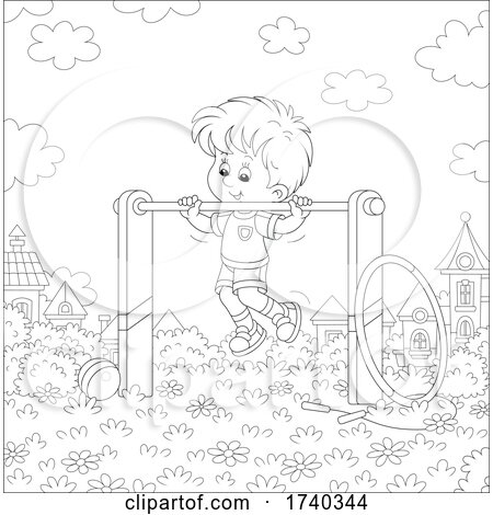 Boy Playing on the Monkey Bars in a Park by Alex Bannykh