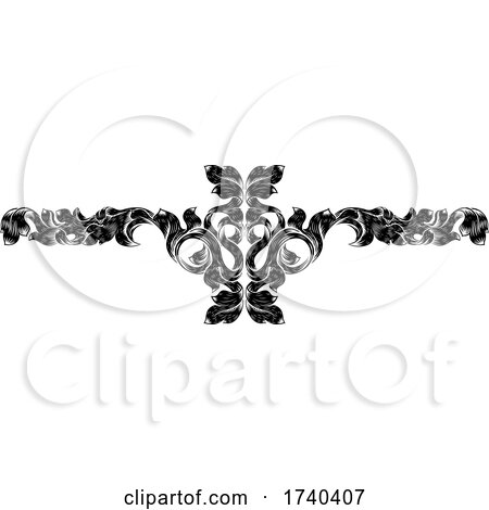 Filigree Leaf Pattern Floral Scroll Pattern by AtStockIllustration