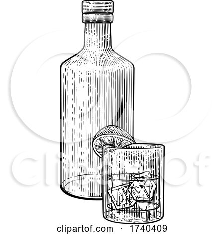 Cocktail Bottle and Glass with Ice Vintage Woodcut by AtStockIllustration