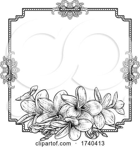 Plumeria Frangipani Tropical Flower Funeral Invite by AtStockIllustration