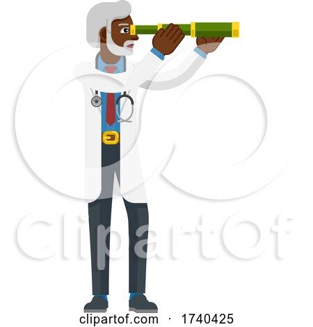 Telescope Spyglass Doctor Concept by AtStockIllustration