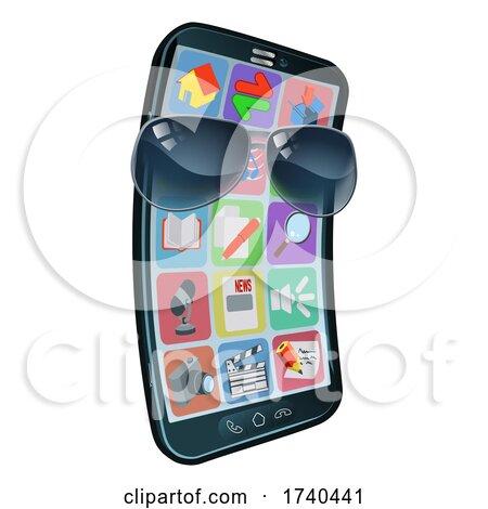Mobile Phone Cool Shades Cartoon Mascot by AtStockIllustration