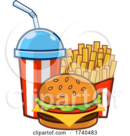 Slushy or Soda with Fries and a Cheese Burger by Hit Toon