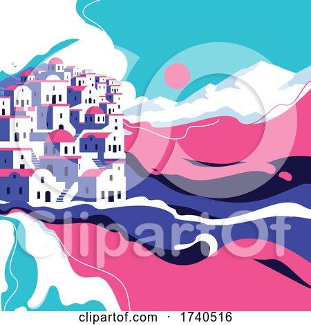 Beautiful Landscape of Scenic Village on Edge of Island by elena