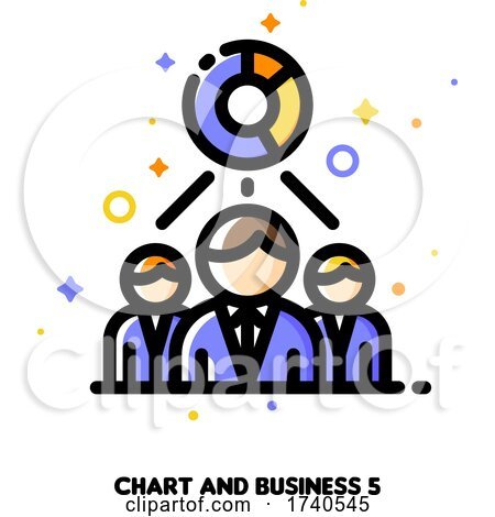 Icon of Chart and Three Business Persons for Economic Research or Financial Analysis Concept by elena