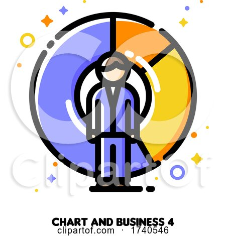 Icon of Businessman on a Background of Chart for Return on Investment Finance Graph Concept by elena