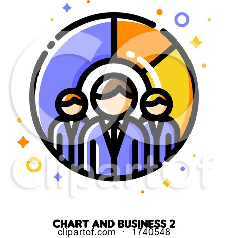 Icon of Three Business Persons on a Background of Chart for Make More Money with Budget Planning Concept by elena