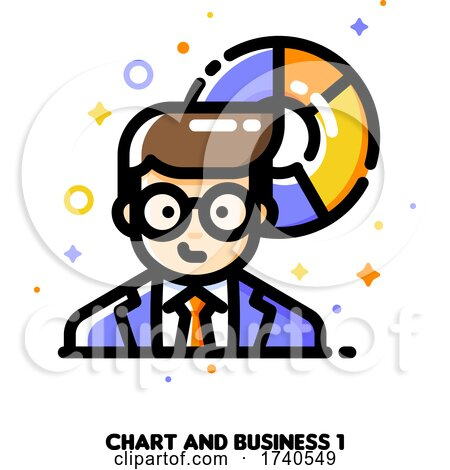 Icon of Businessman on a Background of Chart for Income and Revenue Increase Concept by elena