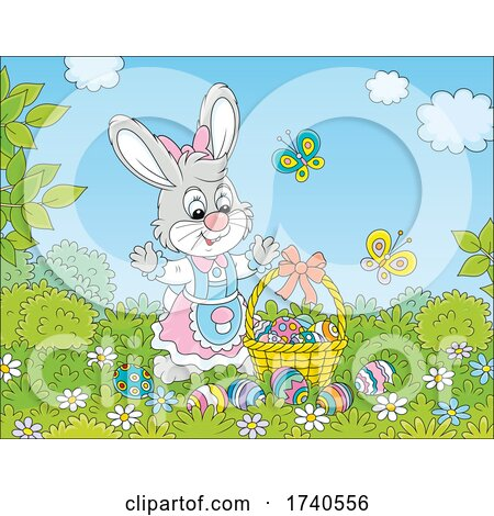 Female Easter Bunny Rabbit with a Basket of Eggs by Alex Bannykh
