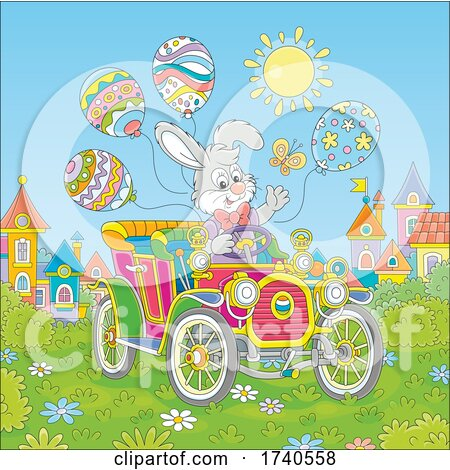 Easter Bunny Rabbit Driving an Antique Car by Alex Bannykh