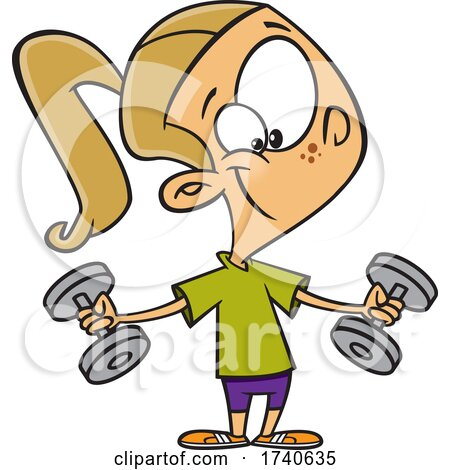 Cartoon Girl Working out with Weights by toonaday