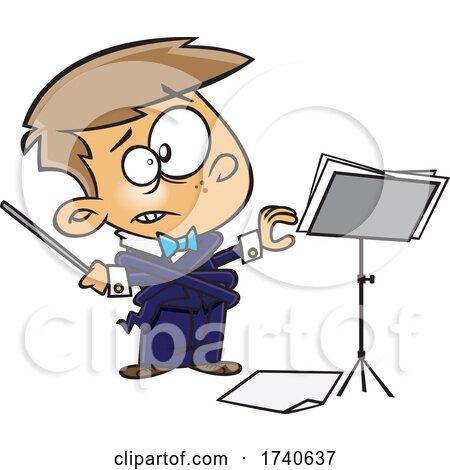 Cartoon Boy Music Conductor by toonaday