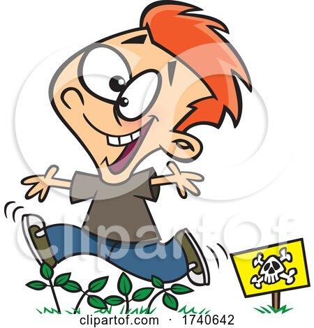 Cartoon Boy Running Through Poison Ivy by toonaday