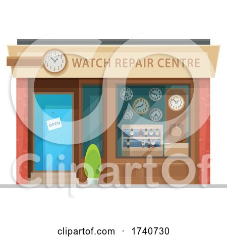 Watch Repair Building Storefront by Vector Tradition SM