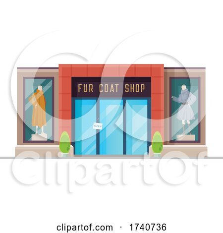 Fur Coat Building Storefront by Vector Tradition SM