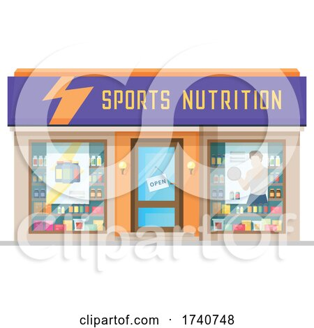 Sports Nutrition Building Storefront by Vector Tradition SM