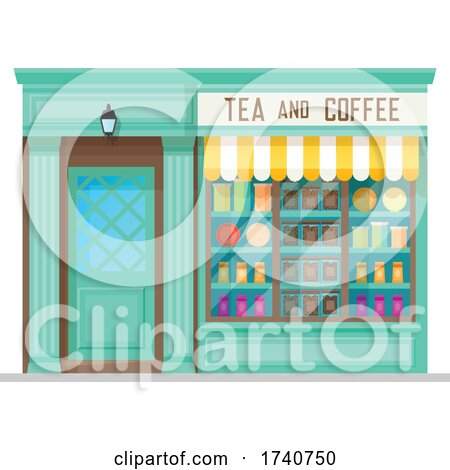 Tea and Coffee Building Storefront by Vector Tradition SM