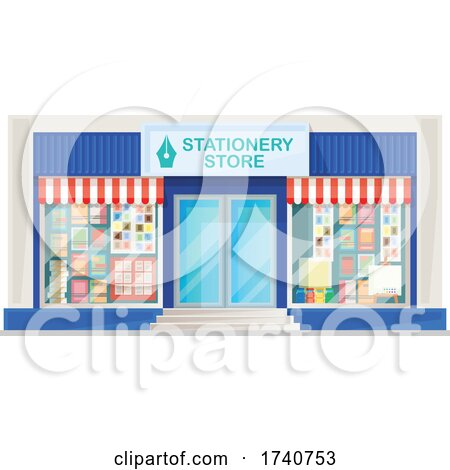 Stationery Store Building Storefront by Vector Tradition SM