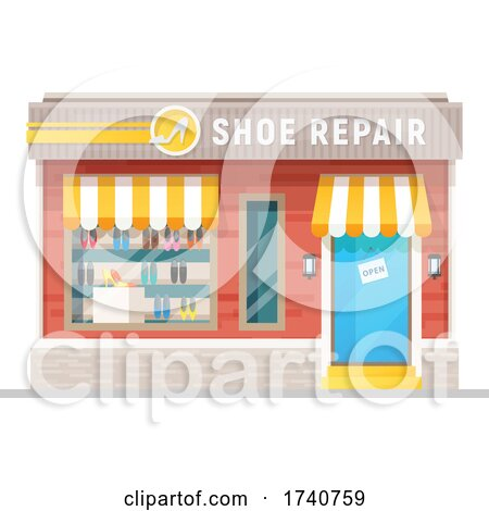 Shoe Repair Building Storefront by Vector Tradition SM