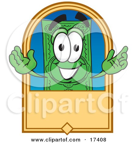 Clipart Picture of a Dollar Bill Mascot Cartoon Character on a Blank Tan Label by Toons4Biz