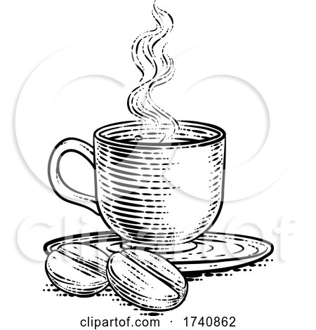 Coffee Beans and Cup Vintage Woodcut Illustration by AtStockIllustration