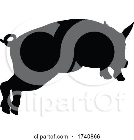 Pig Silhouette Farm Animal by AtStockIllustration