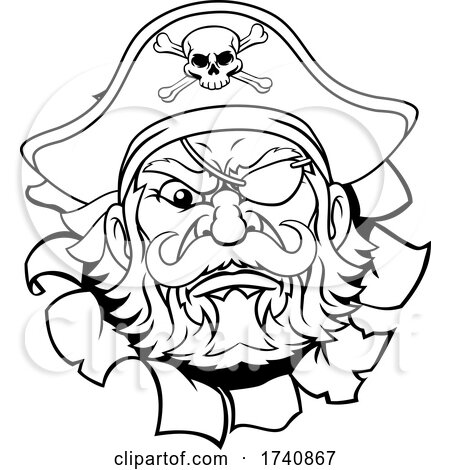 Pirate Captain Cartoon Mascot Tearing Background by AtStockIllustration