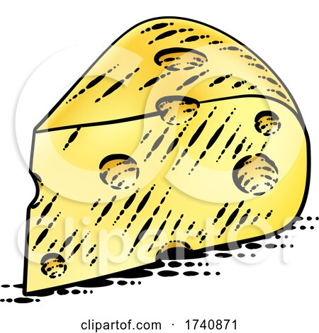 Swiss Cheese Vintage Woodcut Etching Style by AtStockIllustration