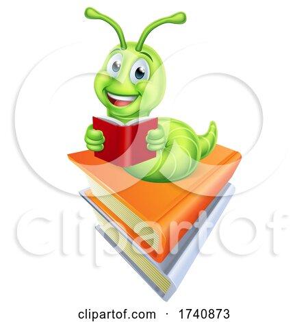Reading Caterpillar Bookworm Worm on Books by AtStockIllustration