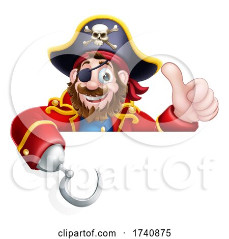 Pirate Captain Cartoon over Sign Background by AtStockIllustration