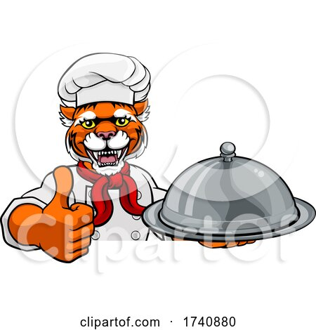 Tiger Chef Mascot Sign Cartoon Character by AtStockIllustration