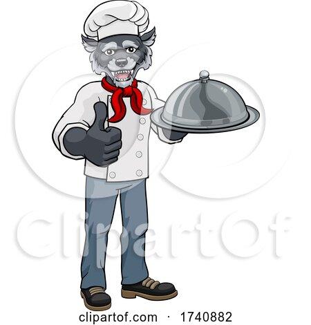 Wolf Chef Mascot Cartoon Character by AtStockIllustration