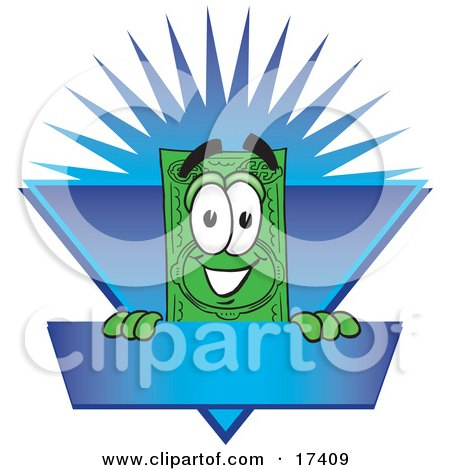 Clipart Picture of a Dollar Bill Mascot Cartoon Character on a Blank Blue Label With a Burst by Toons4Biz
