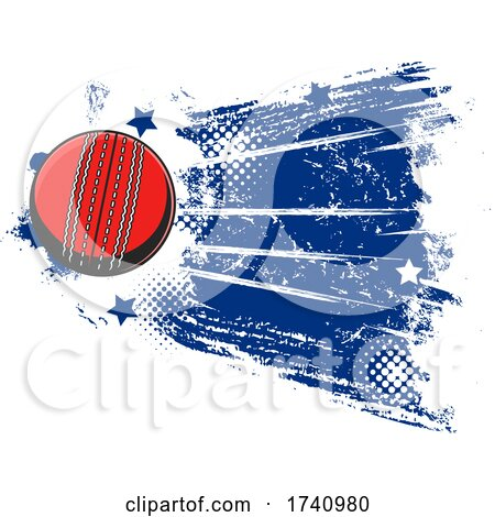Cricket Ball with Grunge by Vector Tradition SM