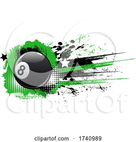 Billiards Eight Ball and Grunge by Vector Tradition SM
