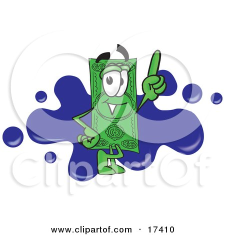Clipart Picture of a Dollar Bill Mascot Cartoon Character Pointing Upwards and Standing in Front of a Blue Paint Splatter on a Business Logo by Toons4Biz