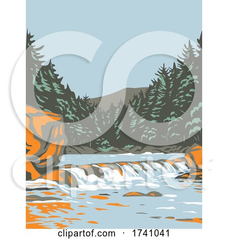 The Katahdin Woods and Waters National Monument in Northern Penobscot County Maine Including Section of East Branch Penobscot River WPA Poster Art by patrimonio