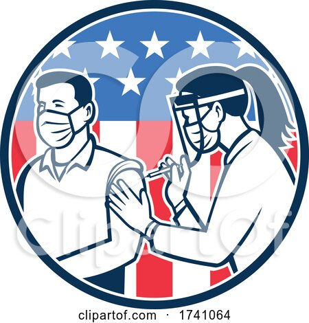 American Frontline Worker Vaccinated with Covid-19 Vaccine by a Medical Doctor or Nurse with Usa Flag Retro Icon by patrimonio