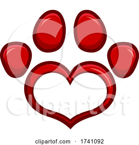 Red Heart Shaped Paw Print by Hit Toon