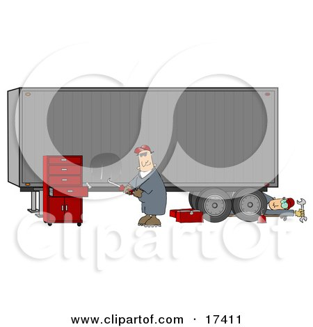 Two Male Mechanics Working On A Tractor Trailer, One Fixing A Dent In The Side Of A Semi While The Other Man Rolls Out From Underneath  Posters, Art Prints