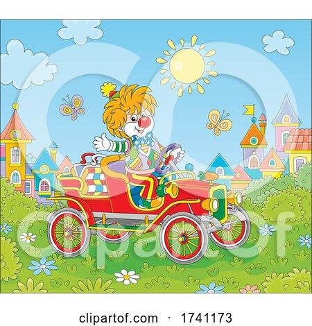 Clown Driving an Antique Car by Alex Bannykh