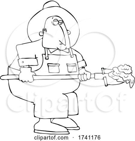 Cartoon Black and White Chubby Male Farmer Shoveling Manure by djart