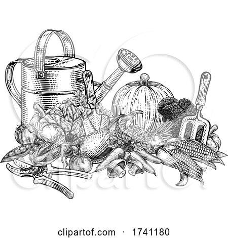 Gardening Tools Vegetables Produce Vintage Woodcut by AtStockIllustration