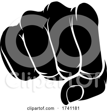 Hand Fist Punching Front Knuckle on by AtStockIllustration