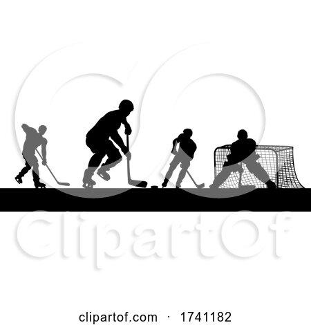 Ice Hockey Players Silhouette Match Game Scene by AtStockIllustration