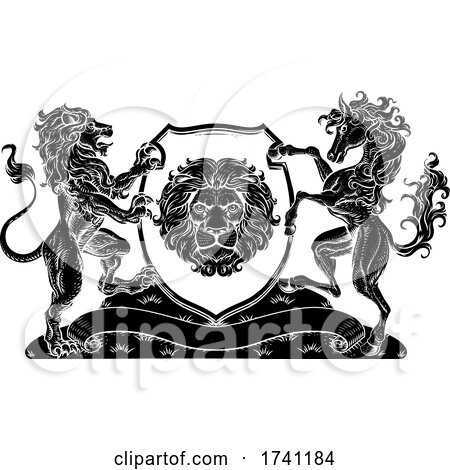 Coat of Arms Horse Lions Crest Shield Family Seal by AtStockIllustration